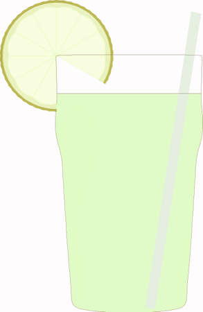 lime slice: Glass of cocktail with lime slice and straw Stock Photo