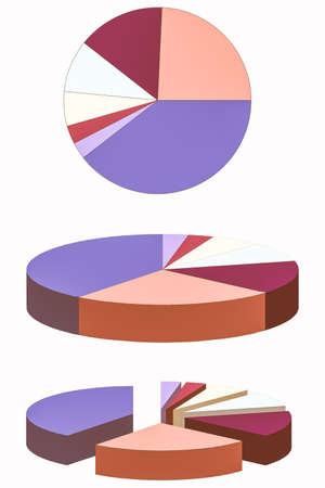 pie chart graph: Pie chart graph in 2D and 3D