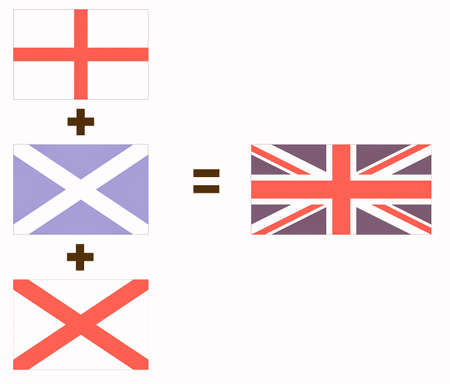 union jack flag: Making of the Union Jack flag of the UK from the national flags of England, Scotland and Ireland Stock Photo