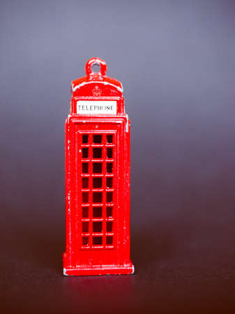telephone box: Vintage looking Scale model of red telephone box in London UK Stock Photo