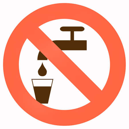potable: Do not drink sign (red and black over white) Stock Photo