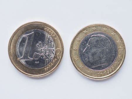 belgie: Currency of Europe 1 Euro coin from Belgium Stock Photo