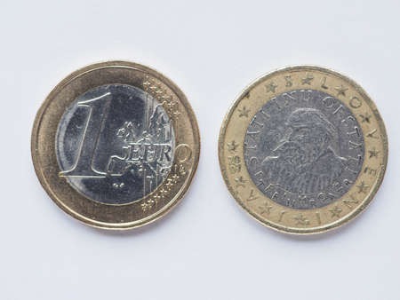 1 euro: Currency of Europe 1 Euro coin from Slovenia