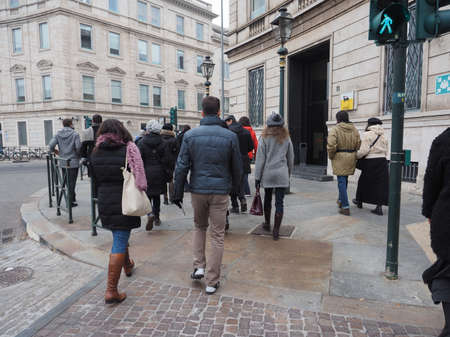 the royal park: TURIN, ITALY - DECEMBER 07, 2015: Tourists visiting Regio Parco (meaning Royal Park) quarter in Turin Editorial