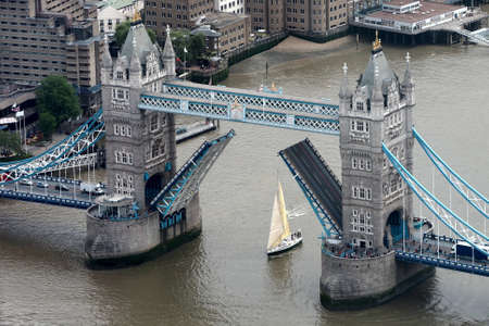 river thames: LONDON, UK - JUNE 10, 2015: Aerial view of Tower Bridge over River Thames Editorial