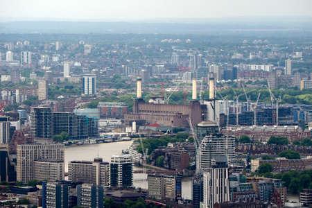 battersea: LONDON, UK - JUNE 10, 2015: Aerial view of Battersea Power Station