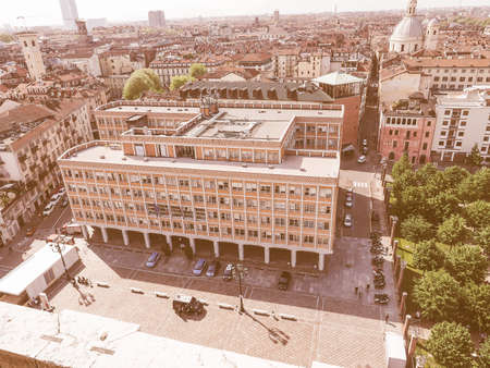 municipal editorial: Vintage looking TURIN, ITALY - APRIL 22, 2015: The Ufficio Tecnico meaning municipal building department was designed by architect Mario Passanti in 1950