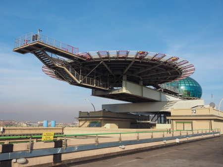 helipad: TURIN, ITALY - DECEMBER 16, 2015: Roof meeting room know as La Bolla meaning The Bubble and helipad at Lingotto conference centre designed by Renzo Piano in former Fiat car factory Editorial