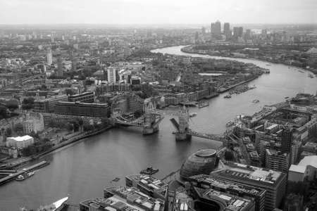 blackandwhite: LONDON, UK - JUNE 10, 2015:  Aerial view of River Thames in black_and_white Editorial
