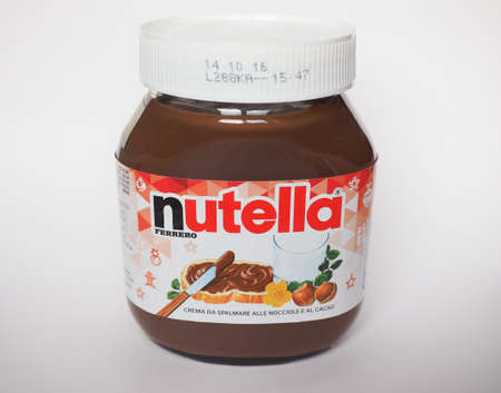 cobnut: ALBA, ITALY - CIRCA DECEMBER 2015: Jar of Italian Nutella hazelnuts cream made by Ferrero