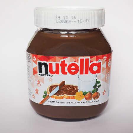 filbert nut: ALBA, ITALY - CIRCA DECEMBER 2015: Jar of Italian Nutella hazelnuts cream made by Ferrero