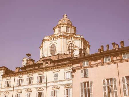 lorenzo: Vintage looking The church of San Lorenzo in Turin, Italy