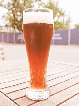 weiss: Vintage looking A glass of German weiss beer
