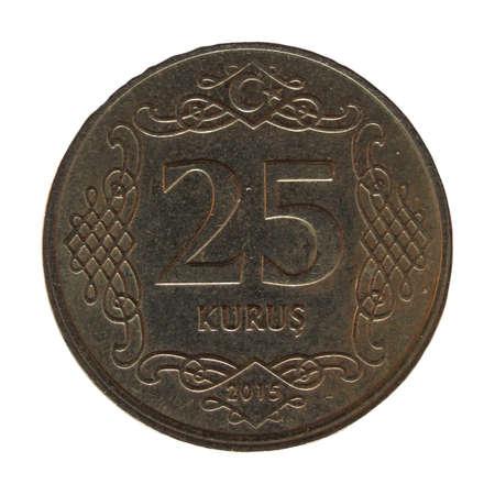 25: Money - 25 Kurus coin of Turkey isolated over white background Stock Photo