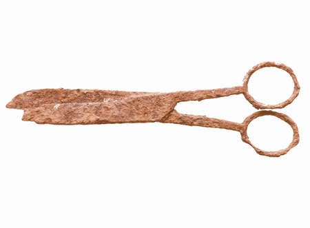 archeological: Ancient rusted scissors archeological finding in a wrecked ship under the sea vintage