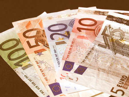 geld: Euro banknote (currency of the European Union) - selective focus vintage Stock Photo