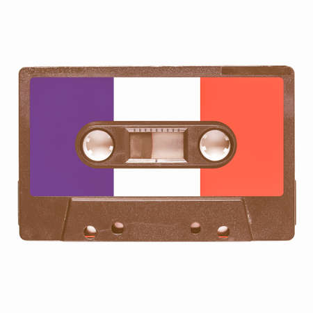 stereo cut: Magnetic tape cassette for audio music recording - French music vintage