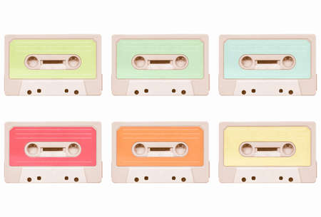 stereo cut: Magnetic tape cassette for audio music recording collage - isolated over white background vintage