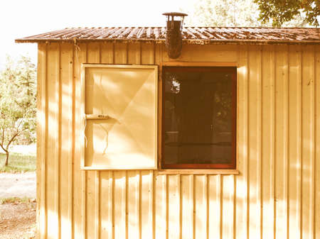 prefabricated house: Detail of a prefabricated house prefab vintage Stock Photo