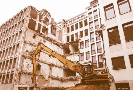 bombing: House debris following blast bombing and demolition vintage