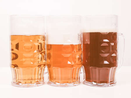 pilsner: Many glasses of German beers including weiss dunkel and lager vintage Stock Photo