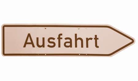 deutsch: A traffic or a construction site sign - in German (Deutsch) - isolated over white background vintage