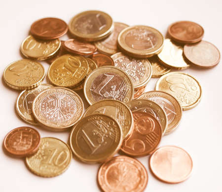 spendings: Background of Euro coins money (European currency) vintage