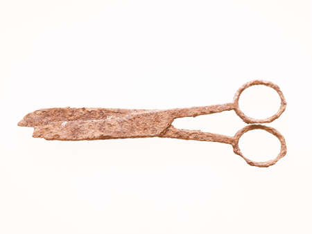 wrecked: Ancient rusted scissors archeological finding in a wrecked ship under the sea vintage