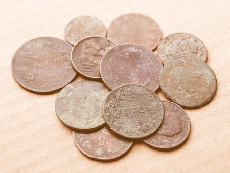 rusted: A heap of many ancient rusted coins vintage