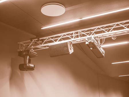 stage lights: Stage lights and loudspeakers used in live gig concert in an auditorium vintage