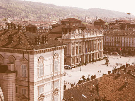 castello: Vintage looking Aerial view of Piazza Castello central baroque square in Turin Italy Editorial