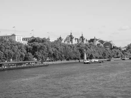 Panoramic view of Thames River in London, UK in black and white