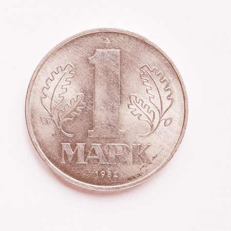 ddr: Vintage DDR (German Democratic Republic) 1 mark coin vintage Stock Photo