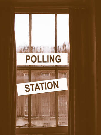 cast in place: Polling station place for voters to cast ballots in elections vintage