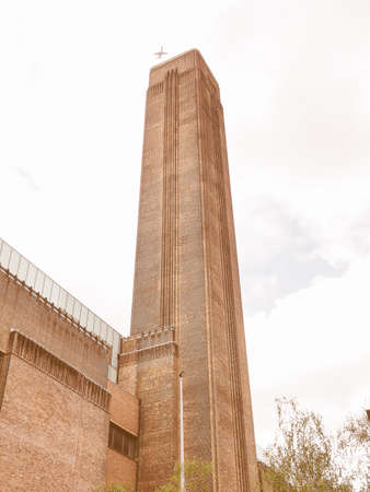 powerstation: Vintage looking Tate Modern art gallery in South Bank powerstation in London, UK