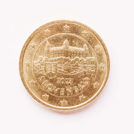 cent: Currency of Europe 50 cent coin from Slovakia vintage