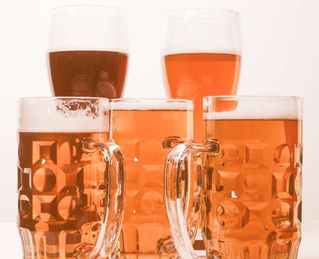 beers: Many glasses of German beers including weiss dunkel and lager vintage Stock Photo