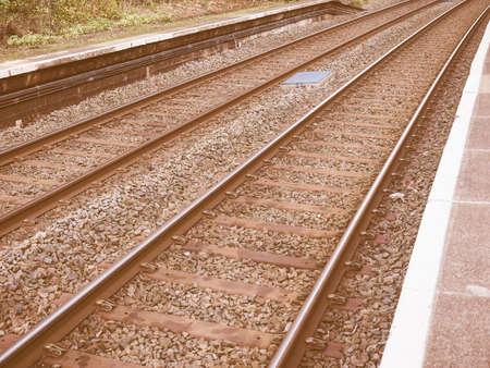 railroad: Railway railroad tracks for train public transport vintage Stock Photo