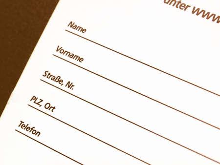 datos personales: Detalle de un formulario de datos personales - en la cosecha alemán