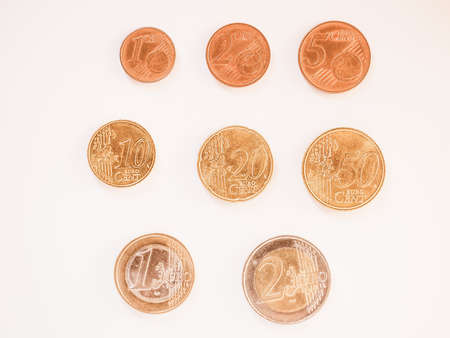 euro coins: Full series of Euro coins currency of the European Union vintage Stock Photo