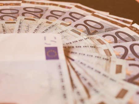 twenty: Twenty Euro banknotes currency of Europe vintage