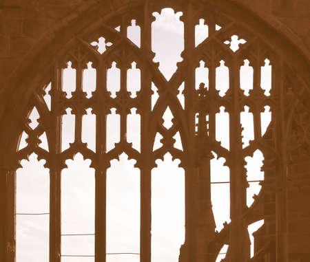 gothic window: Ancient gothic window dark silhouette against the sky vintage