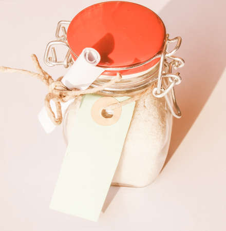 soften: Jar of Bath salts crystalline substance to soften or perfume bath water, with blank tag vintage