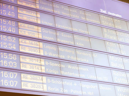 spandau: Timetable display screen of arrivals and departures at station or airport vintage