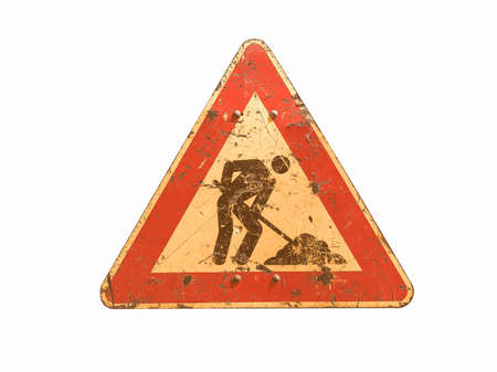 road works: Warning signs, Road works traffic sign isolated over white background vintage