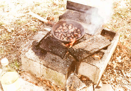 broiling: Vintage looking Barbecue or BBQ at picnic