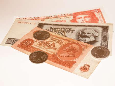 republik: Money from the Communist countries: CCCP SSSR DDR Cuba vintage Stock Photo