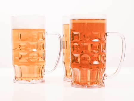 weizen: Many glasses of German beers including weiss dunkel and lager vintage Stock Photo