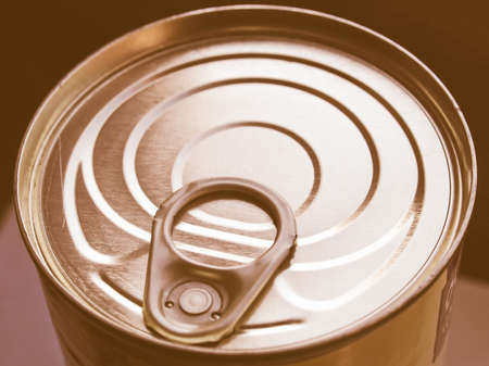 tin: Aluminium tin can for canned food vintage