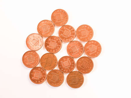penny: Many One Penny coins currency of the United Kingdom vintage